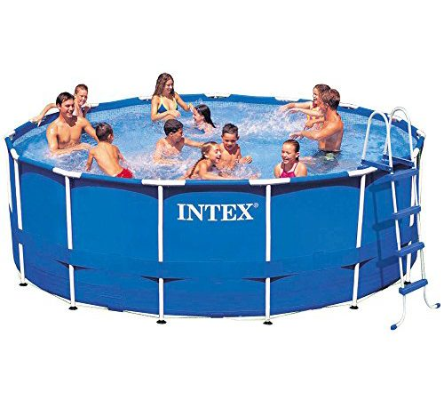 Intex 15ft X 48in Metal Frame Pool Set With Filter Pump Ladder Ground Cloth Cover Above Swimming